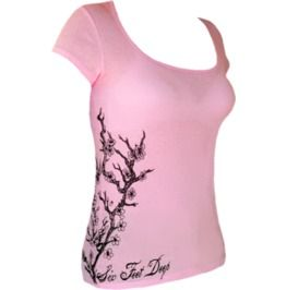 Cherry Blossom; Women's Scoop Neck Tee; Light Pink