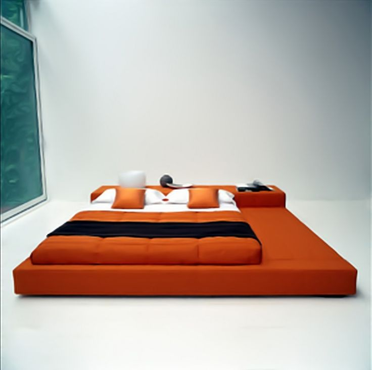 japanese style platform bed from orange upholstered mattress and side storage plus white black bedding decoration of alluring design of japanese style