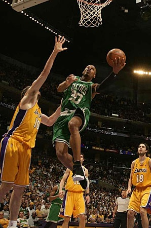 My favorite player right now.  Probably also my favorite moment, Breakin' ankles and laying it up on the Lakers.  2008 NBA Finals Game 4