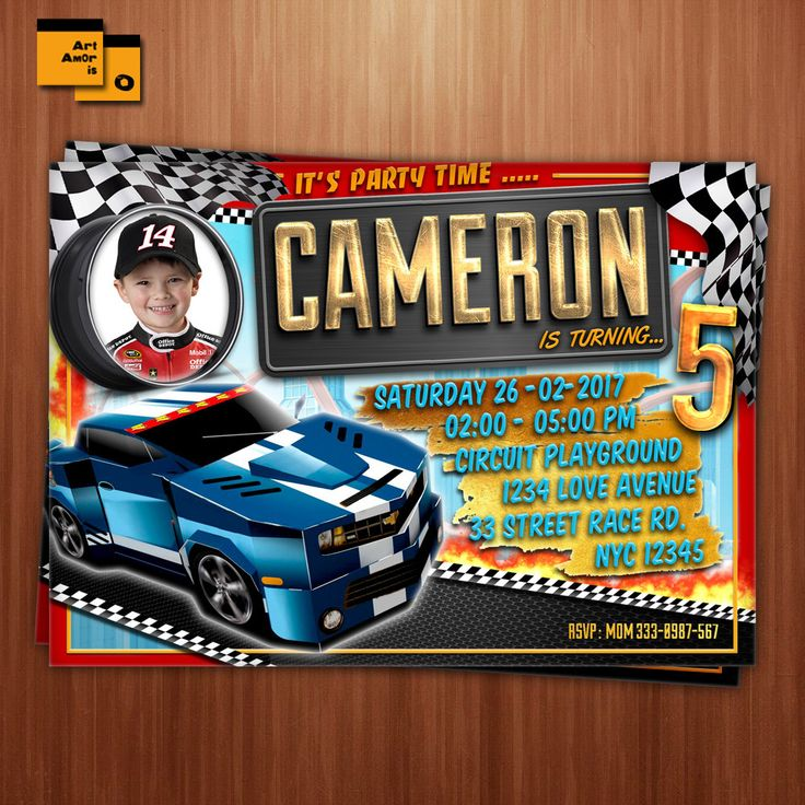 Best Race Car Party Images On Pinterest Cars Invitation Race - Hot wheels birthday invitation how to make