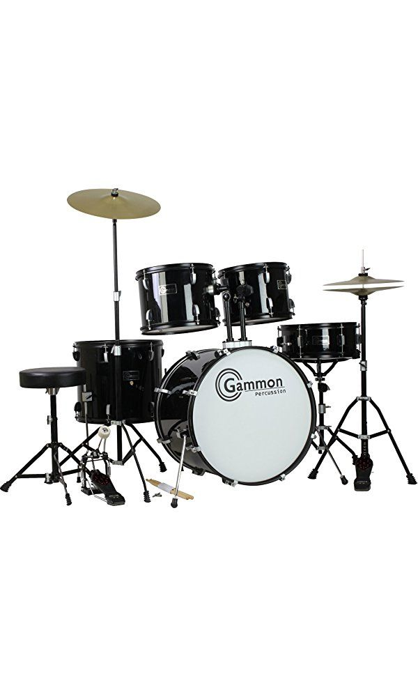 Gammon Percussion Full Size Complete Adult 5 Piece Drum Set with Cymbals Stands Stool and Sticks, Black Best Price