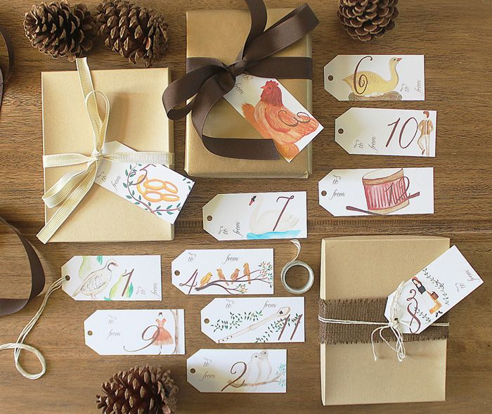 12 days of christmas watercolor gift tags free download packaging ideas pinterest gifts gift tags and christmas
