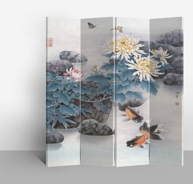 Chinees Kamerscherm 4 Panelen Vijver - Orientique.nl - Asian Living