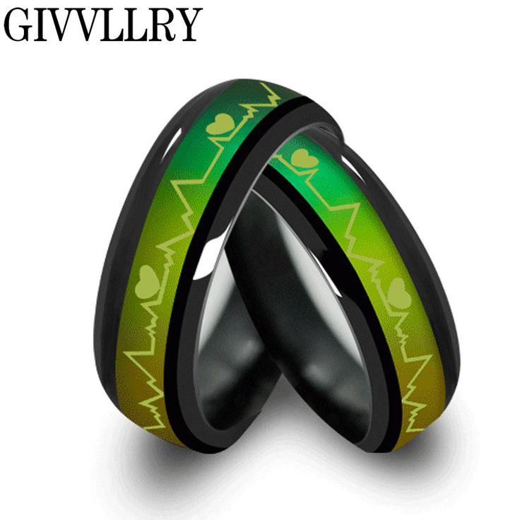Mode titanium zwart stemming ringen temperatuur emotie gevoel verlovingsringen vrouwen mannen 2016 belofte ringen voor koppels sieraden