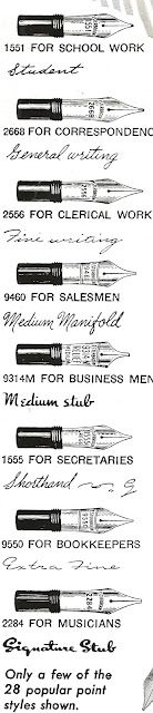 Ad of the day, Esterbrook Fountain Pens, June 7, 2012 - I fancy the medium stub for wedding certificate filling in.