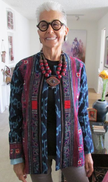 Audrey in Suzi Click jacket & Gretchen Schields necklacenecklace - Power of Adornment Power of Adornment