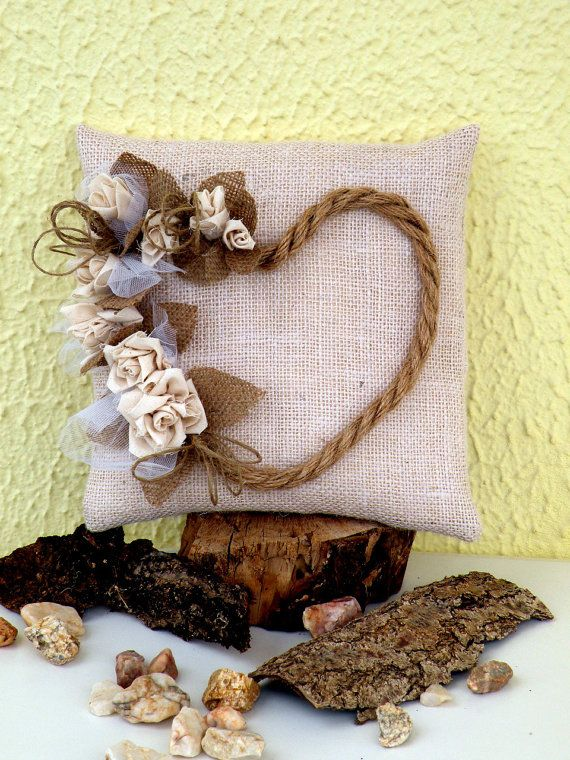 Ring Bearer Pillow for Weddings  Burlap Heart door MyBurlapStudio, $29.00