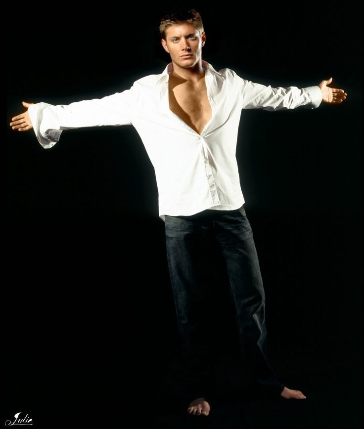Mr.Fifty Shades of Grey right there! Dark jeans hanging from the hips in that Christian Grey way, white shirt...Jensen Ackles should be Christian Grey!