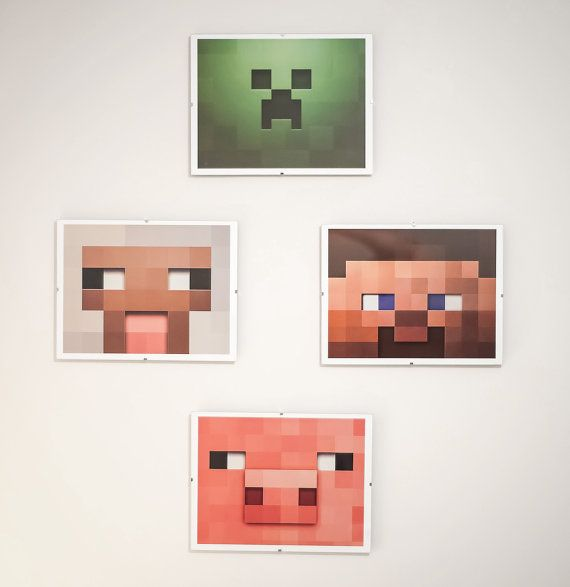 Printable Bedroom Wall Art Minecraft Inspired For By