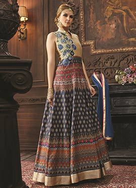 Beige N Navy Blue Anarkali Suit