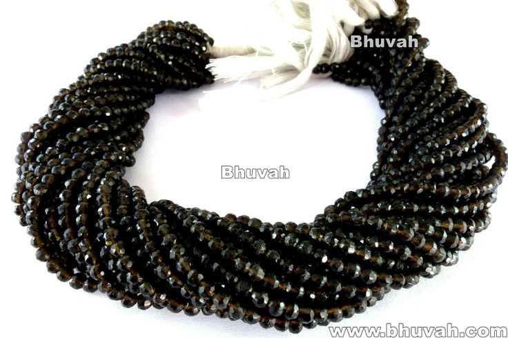Loose Gemstone Strand Smoky Quartz 13 inch Assorted Stone Beads 3-4mm