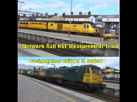 Network Rail HST Measurement Train Races FreightLiner 86612 & 86637 at S...