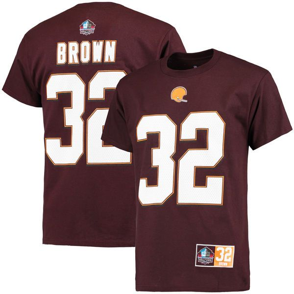 Jim Brown Cleveland Browns Majestic Big & Tall Hall of Fame Eligible Receiver II Name & Number T-Shirt - Brown - $37.99