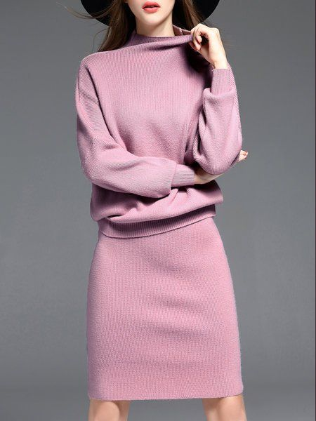 Shop Midi Dresses - Pink Two Piece Crew Neck Wool Blend Long Sleeve Sweater Dress online. Discover unique designers fashion at StyleWe.com.