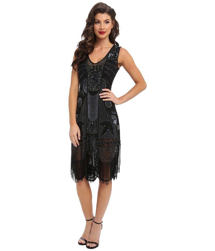 Unique Vintage - The Bosley Beaded Fringed Flapper Dress Black Womens Dress $340.00 AT vintagedancer.com