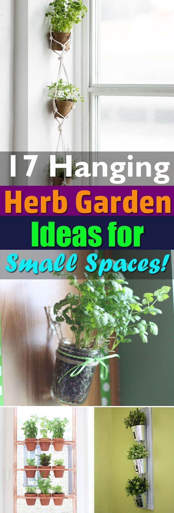 If space is premium but you still want to grow your favorite herbs then try these 17 Hanging Herb Garden Ideas! #smallherbgardens