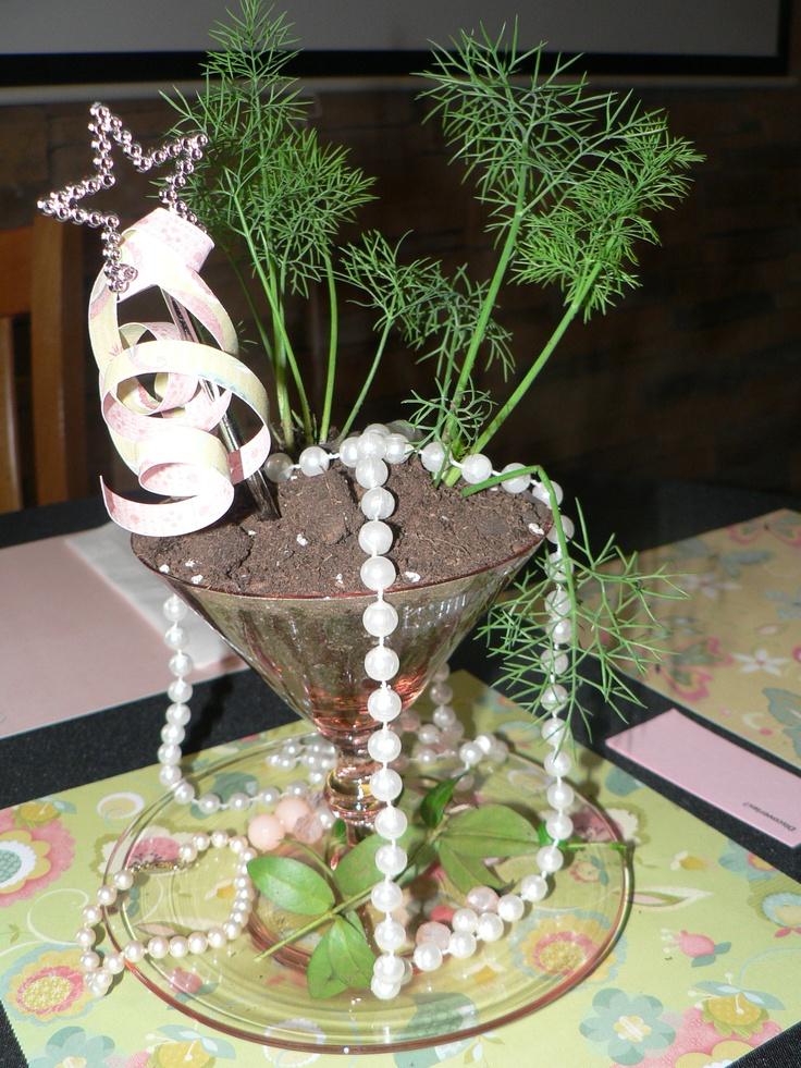 pink depression glass herbal garden themed centerpiece: Pink Depression Glass