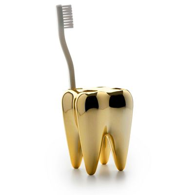 golden tooth toothbrush holder from Me & U