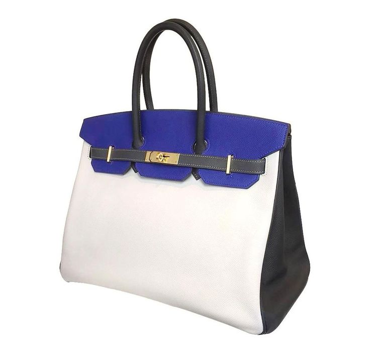 Hermes Birkin Bag 35 Tri-color Special Order Epsom Blue Electric White Graphite #HERMES #Birkin