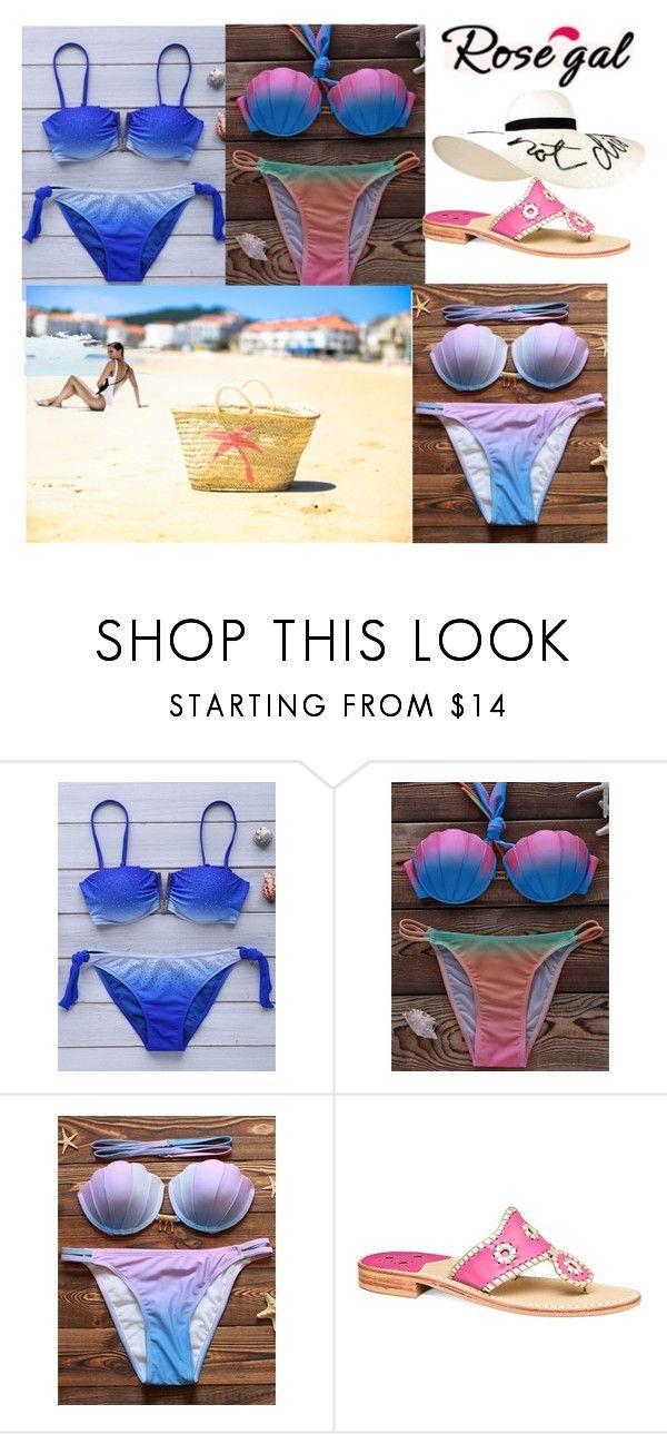 """Ombre Bikini Set"" by elma-elma-di ❤ liked on Polyvore featuring Jack Rogers and Eugenia Kim"
