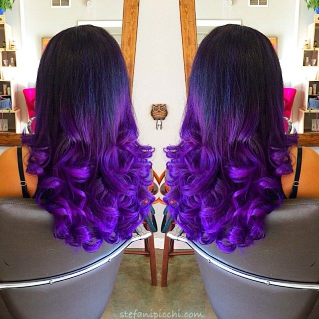 Black to Dark Purple Mermaid Colorful Ombre Indian Remy Clip In Hair Extensions CS023