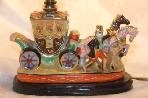 Vintage Satsuma Porcelain Figural Horse And Carriage Lamp