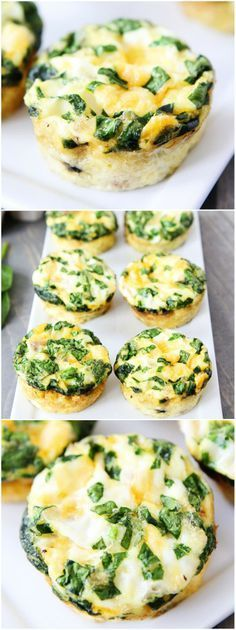 Egg Muffins with Sausage, Spinach, and Cheese Recipe on twopeasandtheirpod.com These little egg muffins are great for breakfast on the go! They freeze well too!