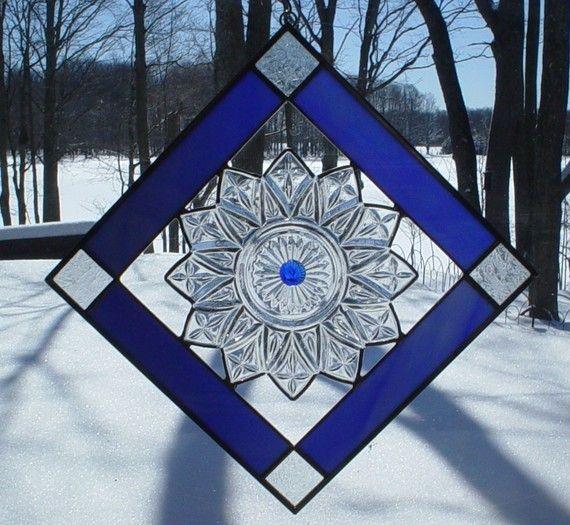 Stained Glass suncatcher Flower Petal Plate