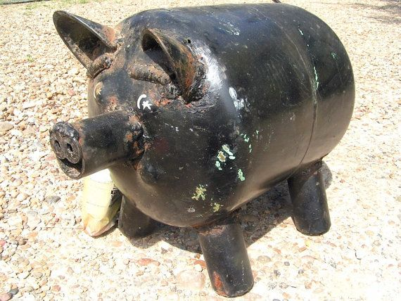 Junk Iron Metal Yard Art Garden Pig Old by NafeIronWorksDesign