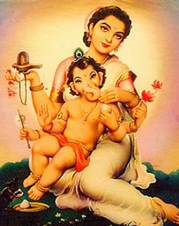 ganesha with parvathi