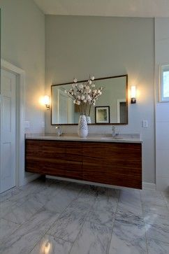 Walnut Wall Hung Vanity With Matching Mirror And Dual Sconces .