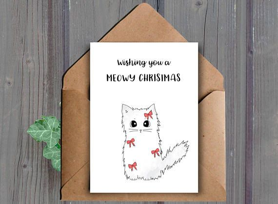 Wishing you a meowy Christmas A printable Christmas card This listing is for a DIGITAL DOWNLOAD of the above card. (No physical item will be shipped to you)  ★ WHAT YOU WILL RECEIVE: ★ You will receive the following two files (one JPEG and one PDF):  -One high resolution (300 dpi) 8.5x11 inch JPEG file that cuts to 10x7 inches and 5x7 inches when folded (fits into an A7 envelope)  -One high resolution (300 dpi) 8.5x11 inch PDF file that cuts to 10x7 inches and 5x7 inches when folded (fits…