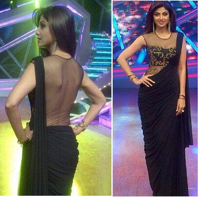 Shilpa Shetty Sporting a Black #Drape #Saree on Nach Baliye 6 Semi Finals.