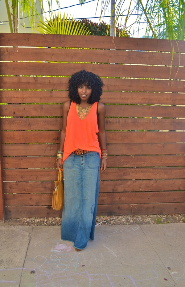 Folake with a neon tank and maxi denim skirt...love the look!