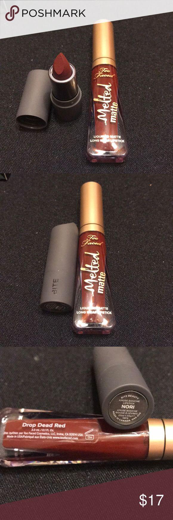 2 Dark Red Lipsticks Too Faced & Bite 2 Dark Red Lipsticks Too Faced & Bite Travel Size.  New Authentic Sephora Makeup Lipstick