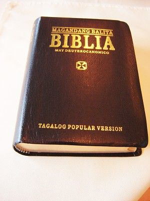 Tagalog Bible with Deuterocanonical Books / Magandang Balita Biblia / Tagalog Popular Version TPV / Black Immitation Leather Cover, Golden Edges, Thumb Index / TVP 035 DC G.E.