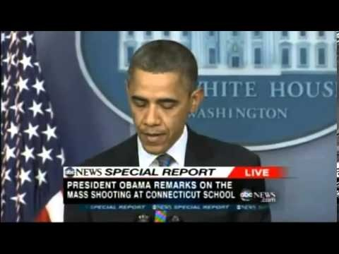 Obama's Speach Connecticut school shooting - Massacre 12.14.2012    Gunman ID'd in horrific school shooting  Ryan Lanza, 24, of New Jersey, is identified as responsible for the attack in CT.  Gunman Identified as Ryan Lanza in Connecticut School Massacre    A heavily armed man invaded a Newtown, Conn., elementary school today, killing his mother and 2...