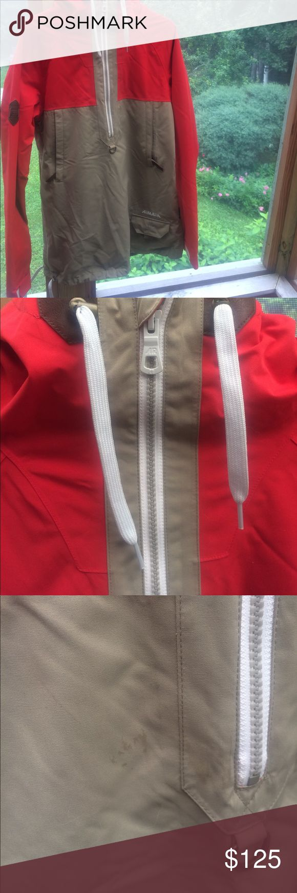 Armada ski/snowboard jacket Pullover jacket with light insulation and drawstring at hip. Very soft yet water resistant fabric. Worn maybe 3 times. Great jacket just never fit. Has underarm zip vents. Small mark near zip but will probably wash out, shown in pic. Armada Jackets & Coats