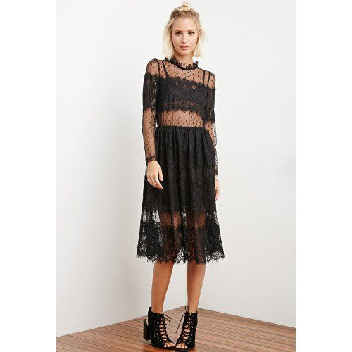 STYLE This dress by The Allflowera, is crafted from alternating eyelash lace and dotted lace panels with a fully lined skirt and a sheer bodice and long sleeves. Sheer floral bralette included. Not available for in-store return .Buttoned keyhole back, elasticized waist. Knit, partially lined. 95% polyester, 5% spandex. Hand wash cold. Made in China.FIT Measured from Small. 44 full length, 32 chest, 30 waist, 23 sleeve length.
