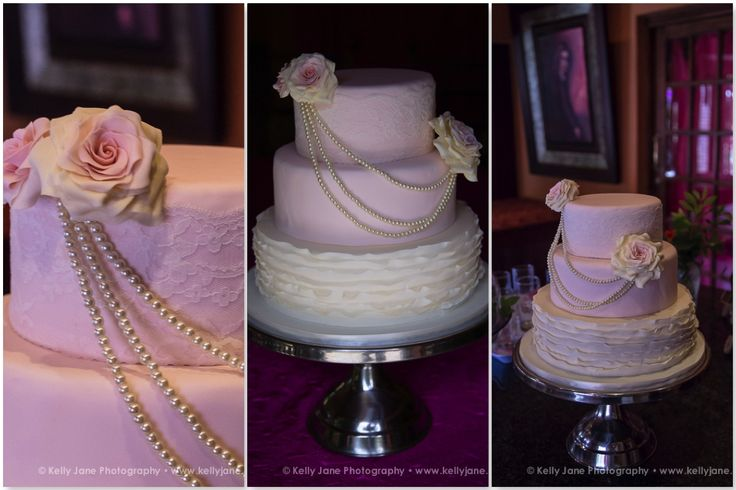 Vintage Lace and Pearl  Wedding Cake with Sugar Roses