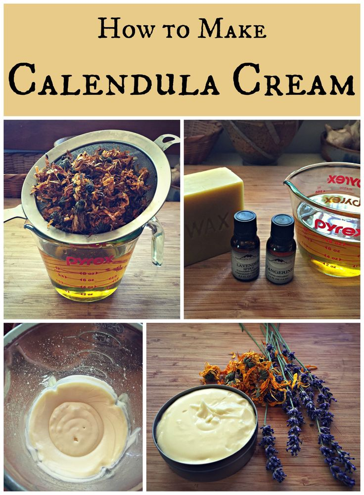 "calendula cream...""The first step in making this Calendula cream, just like in my herbal salve recipe, is to make an infused oil (see my post on how to do that HERE).  You can do this by putting dried calendula flowers in olive oil for several weeks, or use the quick method of heating the oil and dried flowers on low in a slow cooker for up to 24 hours.  I did 8 hours, then turned the slow cooker off and let the herbs continue to steep overnight.""  by Colleen"