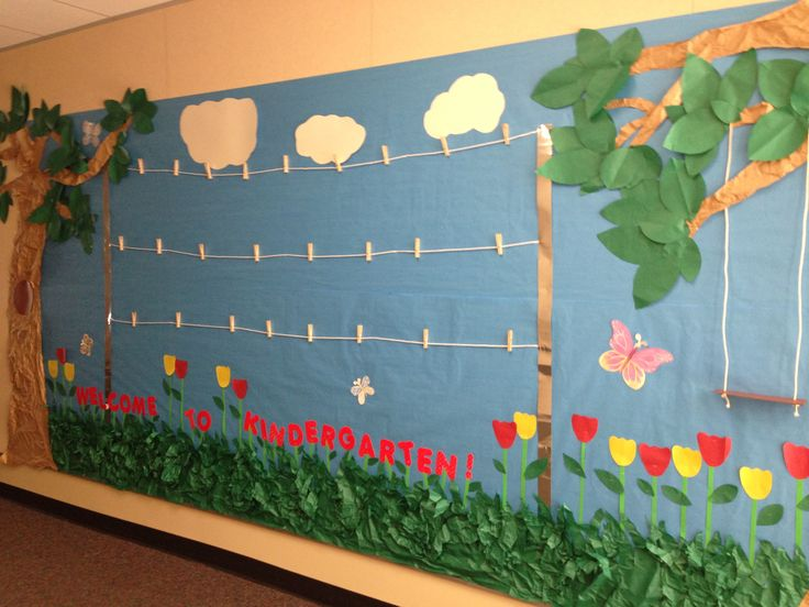 Garden theme bulletin board. I have the clothesline to display the kids work.