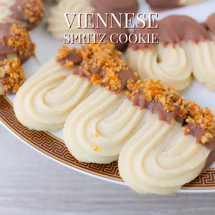 Viennese spritz cookie Find our recipe here: http://food-emporium.com/viennese-spritz-cookie/ Dutch version of this recipe is on our blogspot: Cookies and Dough Emporium. #Viennesespritz #Spritz #chocolate #Cookie #Biscuit #Shortbread #recipe