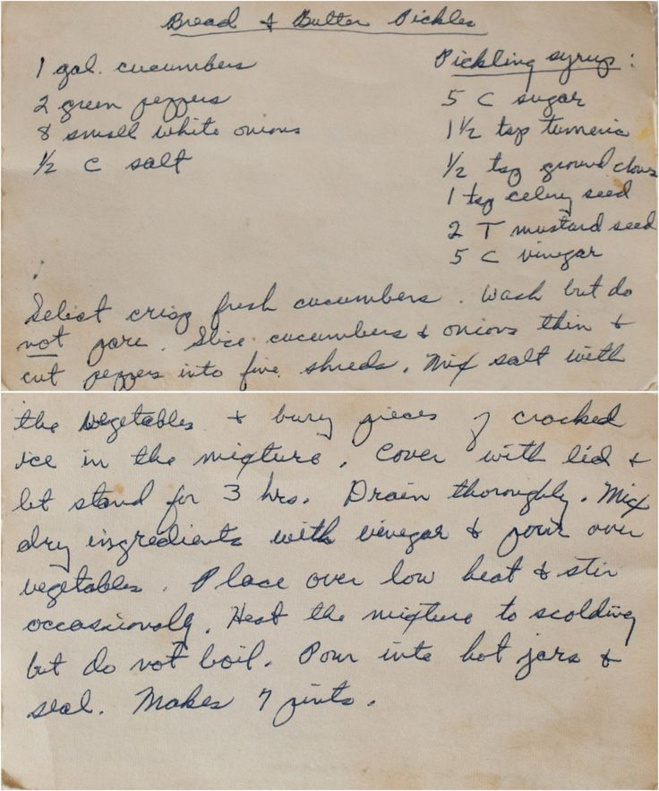 Bread and Butter Pickle Recipe 1800's. I don't like them but my Grandma would make them every year. I'd like to try this.