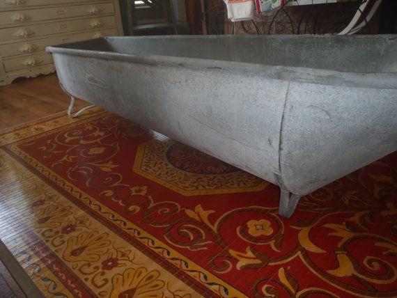 primitive krauss antique galvanized tin cowboy bathtub rare 500 old house planters. Black Bedroom Furniture Sets. Home Design Ideas
