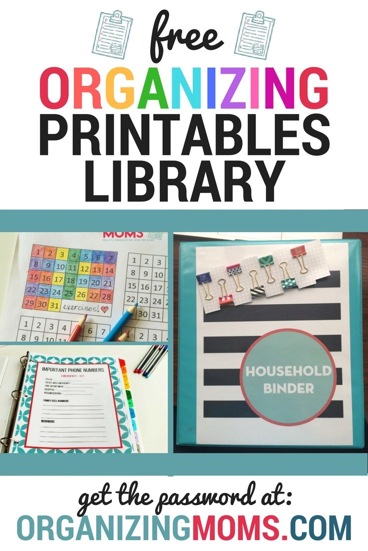 Organizing Moms Printables Resource Library Free Printables Organization Organization Printables Free Organization