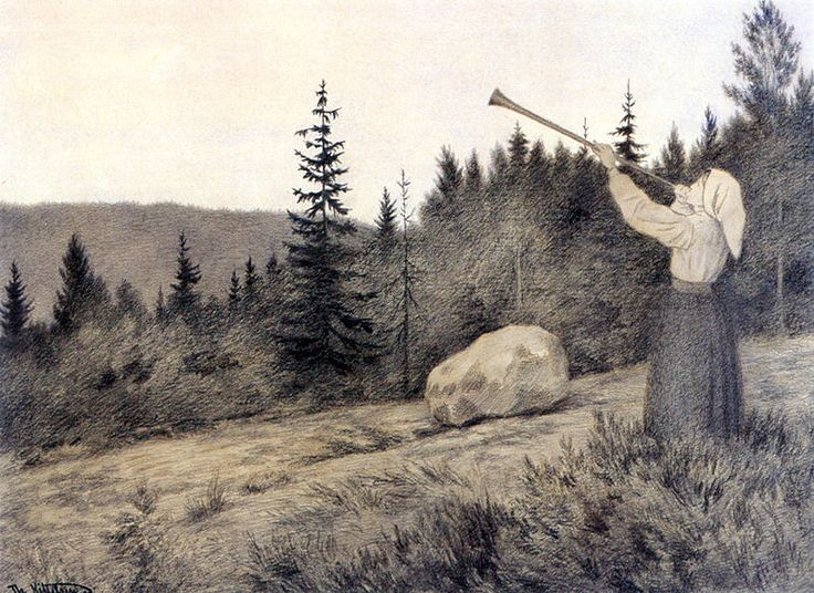 Theodor Kittelsen - Op under Fjeldet toner en Lur .1900 (Up in the Hills a Clarion Call rings out):