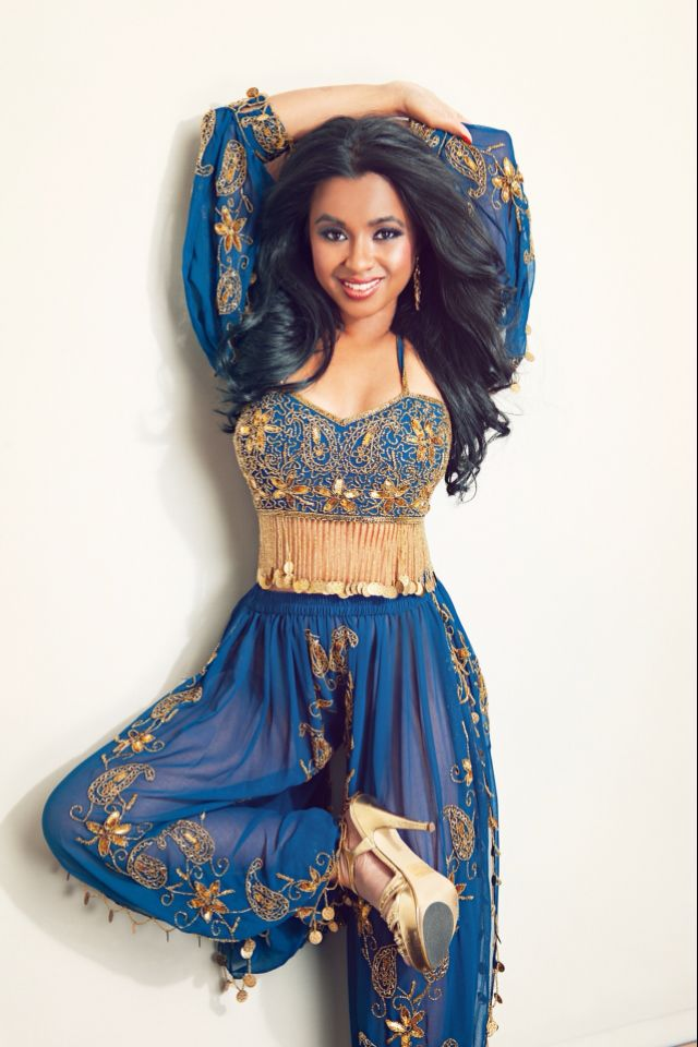 Blue belly dancing costume. So cute with the pants!  But lose the shoes.