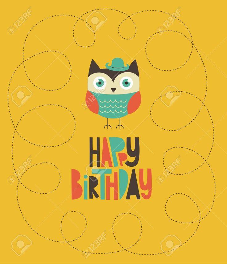 счастливы дизайн сова открытка на день рождения. Клипарты, векторы, и Набор Иллюстраций Без Оплаты Отчислений. Image 20633245.