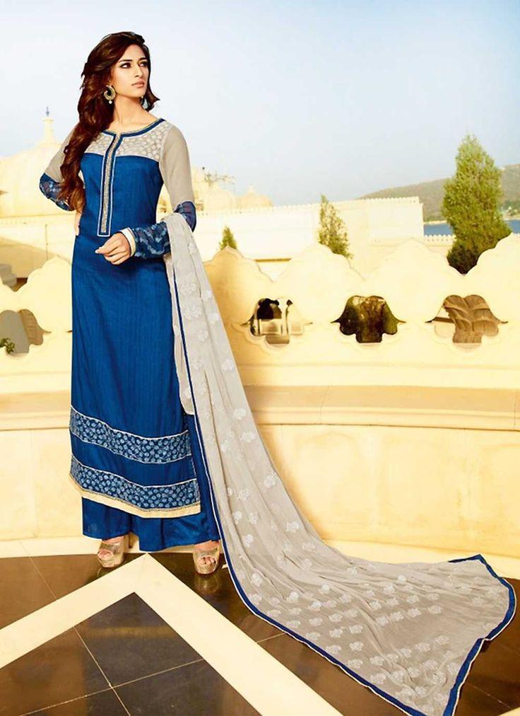 Blue party wear designer Pakistani style plazo suit in silk